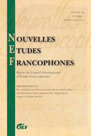 Nouvelles Études Francophones 30:1